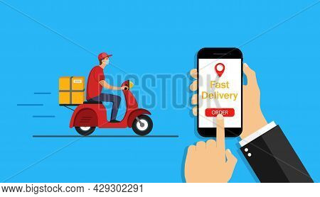 Online Delivery Service In Phone App. Order And Fast Delivery Of Food To Home On Motorcycle. Man On