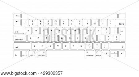 Keyboard Of Computer, Laptop. Modern Key Buttons For Pc. White Keyboard Isolated On White Background