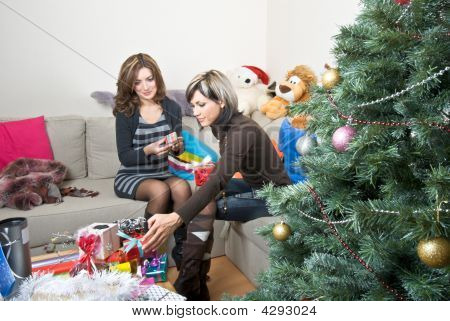 Friends Preparing Christmas Presents
