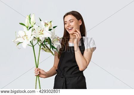 Shopping, Employees And Small Business Concept. Tender Charming Female Florist In Flower Shop, Owner