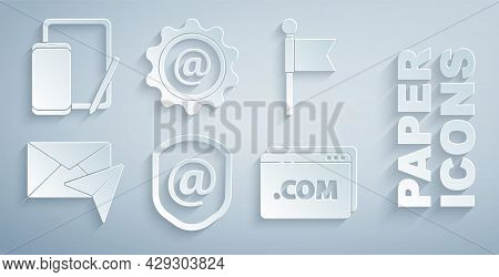 Set Shield With Mail And E-mail, Location Marker, Envelope, Website Template, Mail And Phone Graphic