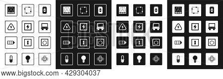 Set Electric Light Switch, Lightning Bolt, High Voltage, Ampere Meter, Multimeter, Voltmeter, Fuse,