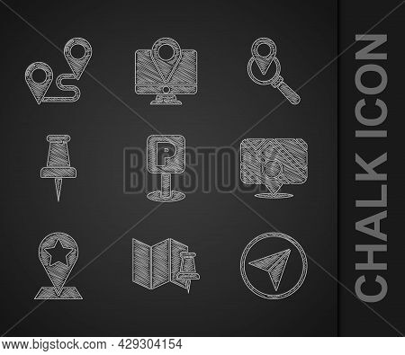 Set Parking, Folded Map With Push Pin, Infographic Of City Navigation, Map Pointer Star, Push, Searc