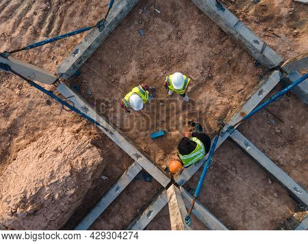 Aerial View Construction Site Work, Team Engineer Contractor Working Inspection Structure Prefabrica