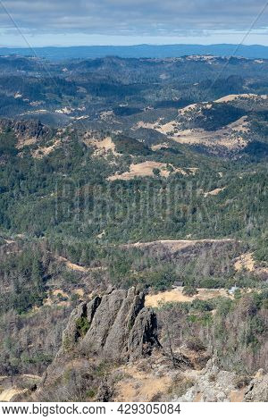 Overview Of The Napa Valley From The Table Rock Trail, Robert Louis Stevenson State Park, On A Partl
