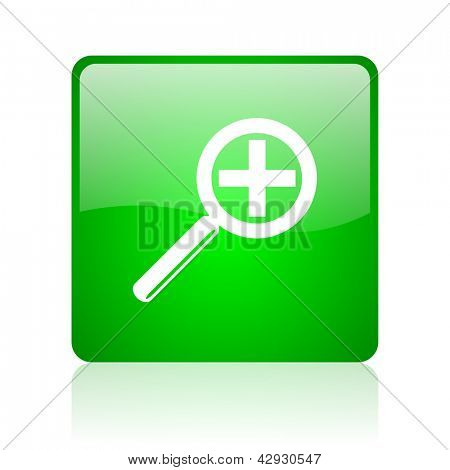 magnification green square web icon on white background