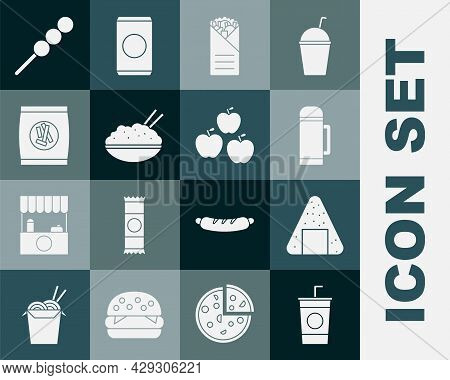 Set Paper Glass With Straw, Onigiri, Thermos Container, Doner Kebab, Rice Bowl Chopstick, Hard Bread