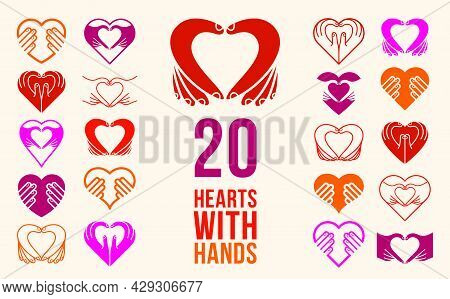 Hearts With Hands Vector Logos Or Icons Set, Heart Hand Fingers Signs, Hands Giving Love, Showing Lo