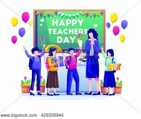 Kids Students Give Gifts And Flowers To Their Teacher On Teacher's Day. Flat Vector Illustration