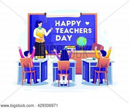 Woman Teacher With Explains Gesture Near Blackboard In A Classroom On Teacher's Day. Flat Vector Ill