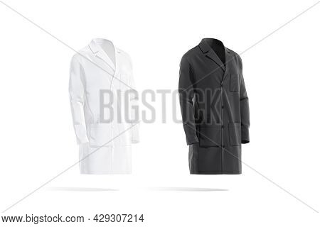 Blank Black And White Medical Lab Coat Mockup, Front View, 3d Rendering. Empty Textile Coat Model Fo