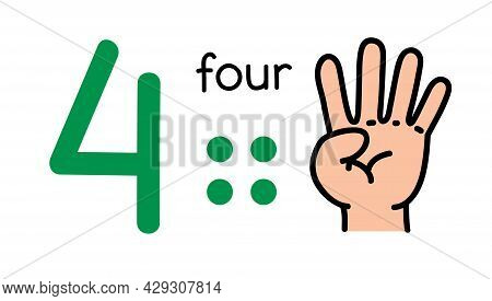 4, Kids Hand Showing The Number Four Hand Sign.