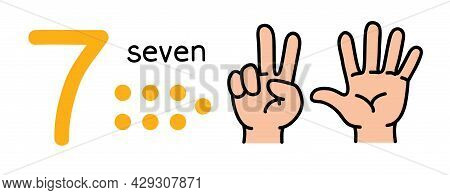 7, Kids Hand Showing The Number Seven Hand Sign.