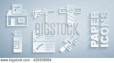 Set Weapon Catalog, Knife Holster, Weapons Oil Bottle, Sniper Optical Sight, Submachine Gun M3 And H
