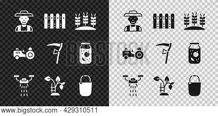 Set Farmer In The Hat, Garden Fence Wooden, Wheat, Smart Farm With Drone, Strawberry Bush, Bucket, T