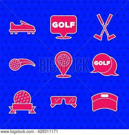 Set Location Golf Sport Club, Glasses, Sun Visor Cap, Golf Label, Ball, Crossed And Shoe Icon. Vecto