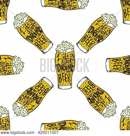 Drink Beer Hand Drawn Lettering Seamless Pattern. Octoberfest Beer Lovers Seamless Texture. . Vector