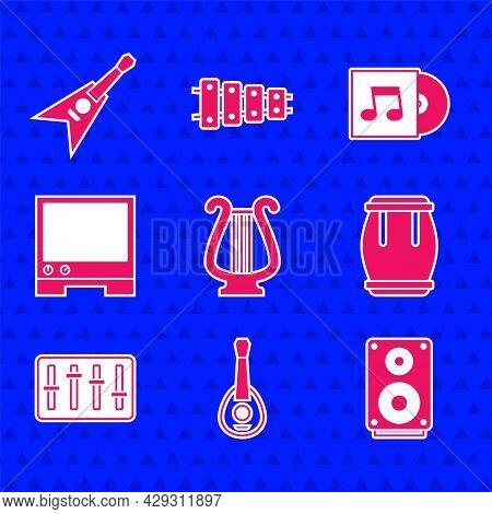 Set Ancient Lyre, Guitar, Stereo Speaker, Drum, Sound Mixer Controller, Voice Assistant, Vinyl Disk