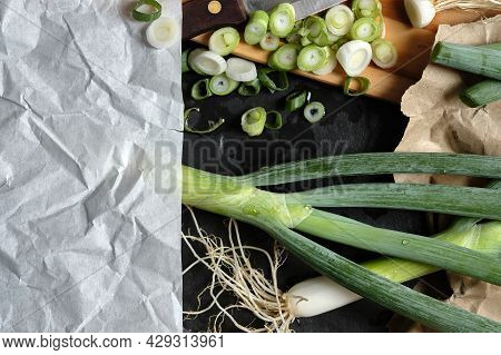 Fresh Negi, Japanese Green Spring Onions, Chopped Scallions On Wooden Board With Crumpled  Paper Not