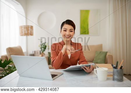 Adorable Attractive Smart Clever Young Smiling Woman Working Sitting In Office At Work Place Work St