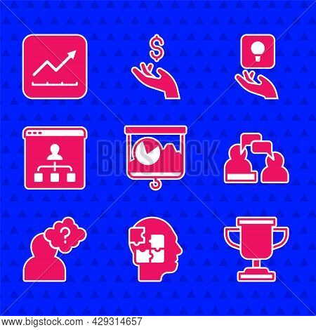 Set Chalkboard With Chart, Head Puzzles Strategy, Award Cup, Two Sitting Men Talking, Question Mark,