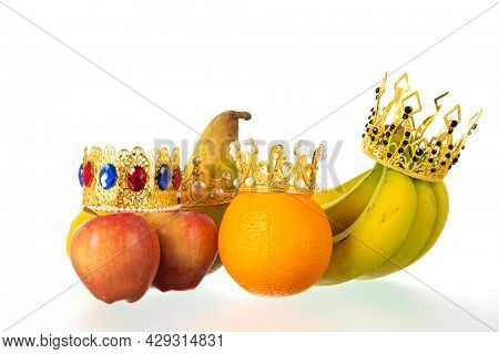 Royal Orange, bananas and apple isolated on white background