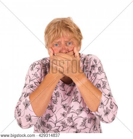 Elderly woman with head ache isolated over white background