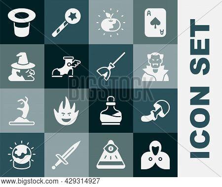 Set Mantle, Cloak, Cape, Psilocybin Mushroom, Vampire, Poison Apple, Hermes Sandal, Witch, Magic Hat