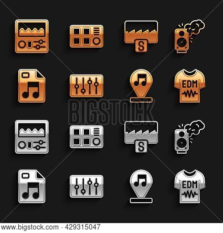 Set Sound Mixer Controller, Stereo Speaker, T-shirt, Music Note, Tone, Mp3 File Document, Wave Equal