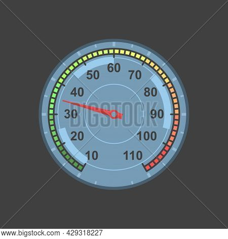 Dial With Temperature Readings From 0 To 110. Digital And Temperature Scale From Green To Red. Vecto