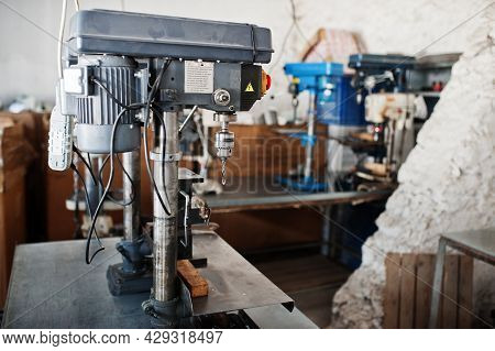 Metalwork Tool Drills At Industrial Factory. Industrial Theme