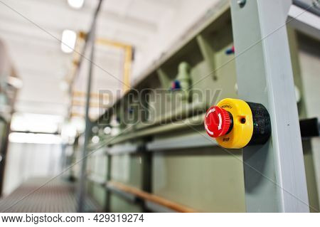 Red Emergency Button Or Stop Button For Industrial Machine, Emergency Stop For Safety.