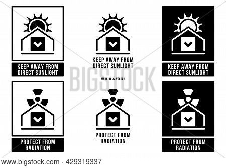 A Set Of Manipulation Symbols For Packaging Products And Goods. Marking - Protect From Radiation. Ma