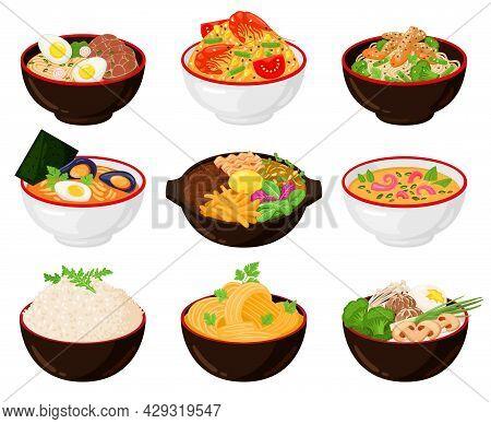 Asian Traditional Cuisine Noodles, Wok, Soup Bowls. Japanese Soba, Udon, Ramen Noodle Soup Bowls Wit