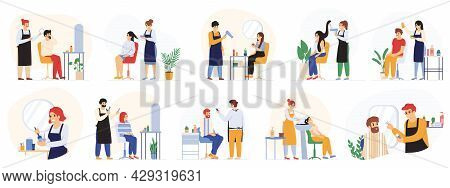 Barbers, Hair Stylists, Hairdressers Beauty Salon, Barbershop Service. Customers Visiting Hairdressi