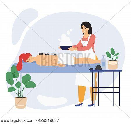 Spa Wellness Beauty Center Relaxing Female Client. Beauty Salon Procedures, Relaxing Wellness Massag