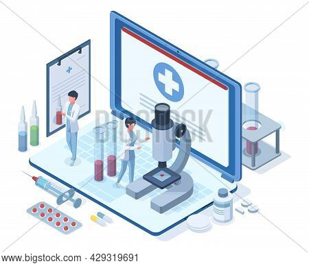 Isometric Online Medical Healthcare Concept. Pharmacy Research, Medical Treatment, Healthcare Diagno