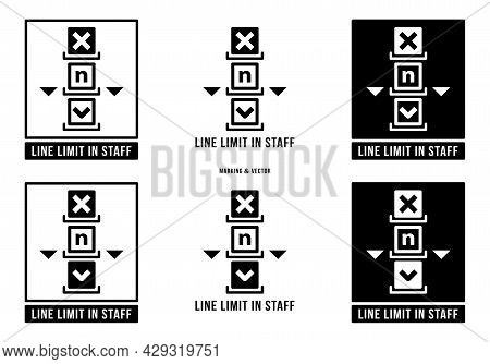 A Set Of Manipulation Symbols For Packaging Cargo Products And Goods. Marking - Line Limit In Staff.
