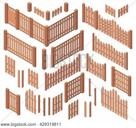 Isometric Wooden Garden Farm Rough Fences. Courtyard Wooden Boards Gates Fencing, Wooden 3d Palisade