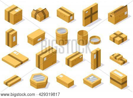Isometric Cardboard Packaging Shipping Boxes. Postal Delivery Package, 3d Carton Boxes Vector Illust
