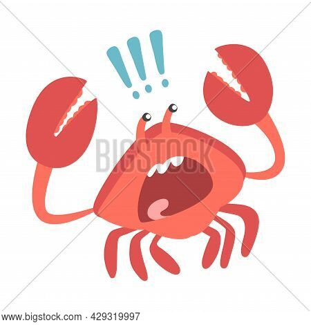 Red Crab Character As Aquatic Mammal With Pair Of Pincers Shouting Vector Illustration