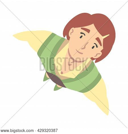 Smiling Business Woman Character Looking Up Above View Vector Illustration