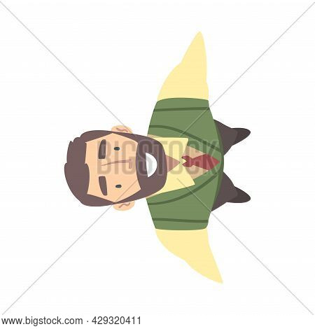 Smiling Bearded Business Man Character Wearing Tie Looking Up Above View Vector Illustration