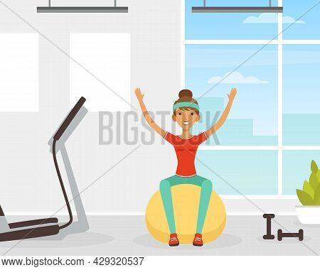 Young Woman Character With Headband And Sportswear Bouncing On Fitball Vector Illustration
