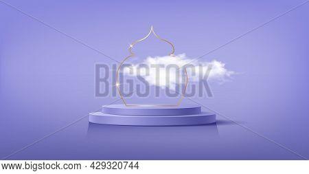 Luxury Islamic Podium With Gold Border, Traditional Islamic Window Frame. 3d Horizontal Arabic Banne