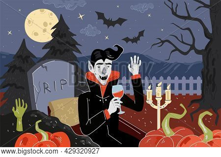 Happy Halloween Holiday Greeting Card. Vampire Dinner In Moonlight Night Cemetery With Pumpkins And