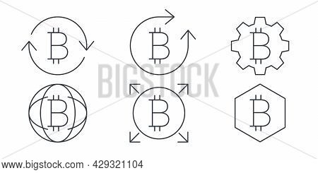 Bitcoin Linear Icons. Cryptocurrency Sign Variations. Digital Cryptographic Currency Bitcoin. Vector