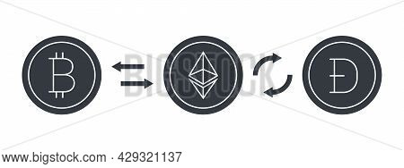Cryptocurrencies Signs. Cryptocurrency Exchange. Digital Cryptographic Currency Icons. Vector Illust