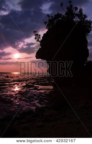 Beautiful Sunset Sky With Cliff Silouette