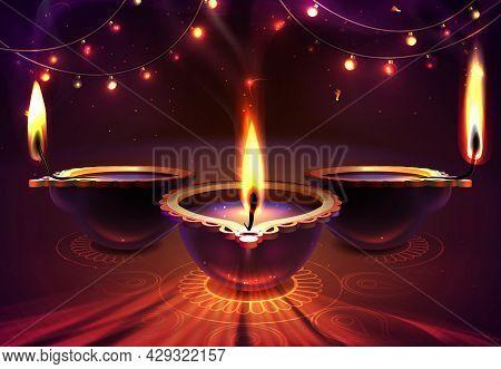 Diwali Holiday Background With Realistic Glowing Diya Candles, Mandala And Rangoli. Happy Indian Rel